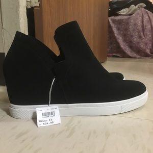 Black Slip-On Wedge Platform Sneakers